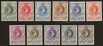 RARE 1938 Swaziland FULL SET KGVI Definitive MLH SG28/38 perf 13 x 13.5 CV£270