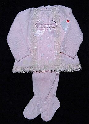 Pink Spanish Lace & Satin Bow 2 Piece Knitted Set NB-12 Mth  *CHECK SIZE*