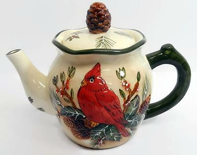 Red Cardinal Christmas Tea Pot Evergreen Winter