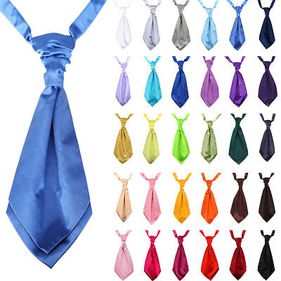New Italian Adult Mens Satin Wedding Ruche Cravat Tie Party Event