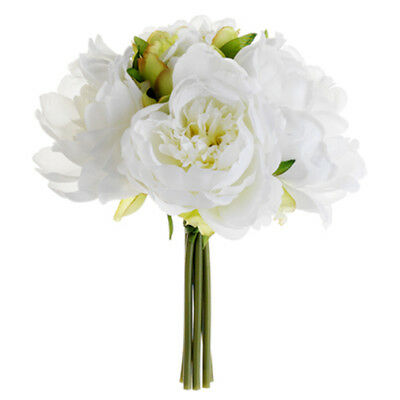 """9.5"""" Peony Silk Flower Bouquet -White (pack of 12)"""
