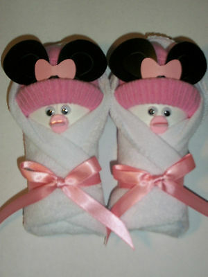 Minnie Mouse White Pink Little Swaddlers Diaper Baby Shower Favors Gift Topper