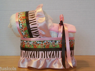 Monkey Jungle Pink Brown Girl Diaper Bassinet Baby Shower Safari Decoration