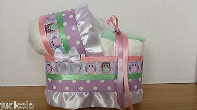 Owl Pink Lilac Mint Girl Diaper Bassinet Carriage Baby Shower Table Decoration