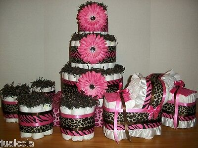 Girl Baby Shower Set Of Cheetah Zebra Hot Pink Brown Diaper Cake Bassinet Mini