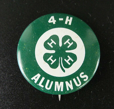 "Vintage Antique 4-H Alumnus Pin Farming Agriculture  1-1/8"" Green / White"