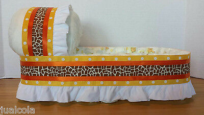 Neutral Giraffe Big Diaper Bassinet Gift Basket Baby Shower Centerpiece