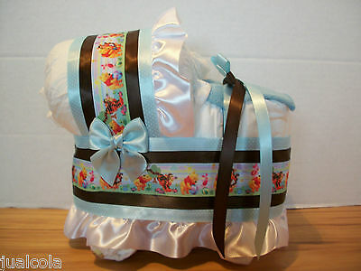 Winnie The Pooh Boy Blue Brown Diaper Bassinet Baby Shower Table Decoration