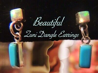 NATIVE AMERICAN ZUNI STERLING SILVER GEMSTONE DANGLE POST EARRINGS New Mexico