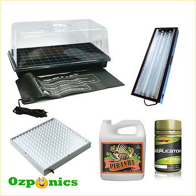 Hydroponics Germination Kit Tray Dome Heat Mat Nutrients Led Hydro22 T5 Light