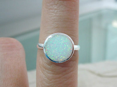 """925 STERLING SILVER """"Bezel ROUND 11mm"""" White Cr.OPAL Ring BIG Size I to X -GIRL"""