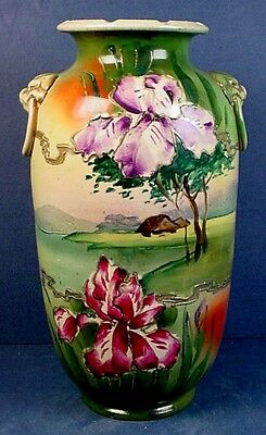 ANTIQUE JAPANESE SATSUMA EARTHENWARE VASE with DOUBLE MOCK LOOSE-RING HANDLES
