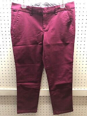 JCP Sz 6 or 12 Twill Flat Front Crop Comfy Stretch Cotton Pants FREE Shpg NWTA