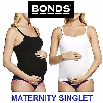 MATERNITY SINGLET Bonds Hidden Contour Bumps Singlet Black White Pregnancy Baby