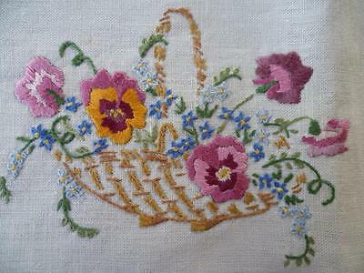 Wonderful Basket of Pansies ~ Vintage Hand Embroidered Centrepiece/mat