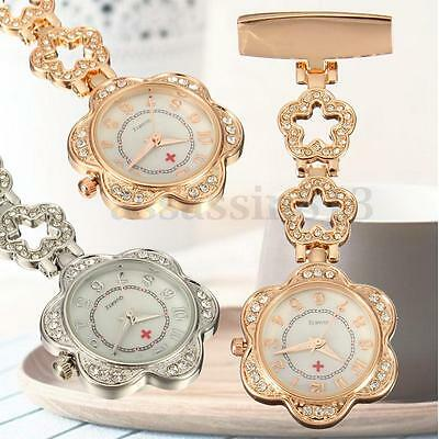 Stainless Steel Crystal Flower Dial Quartz Fob Medical Nurse Pocket Watch Gift