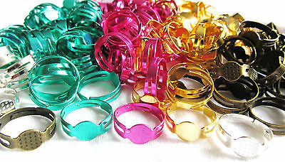 10 x Colourful Adjustable Ring Blanks 8mm Pad - Ring Components Jewellery Making
