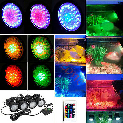 RGB 36 LED Underwater Lights Fish Tank Spotlight Garden Swimming Pool Pond Lamps