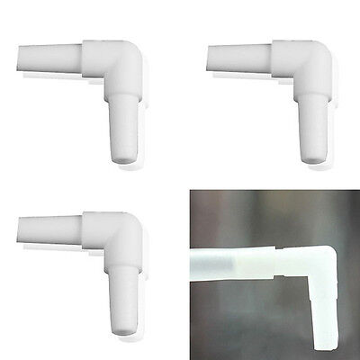 4mm Dia Aquarium Plastic 2-Way Air Line Valve Elbow Tubing Connectors White