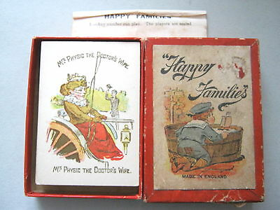 Playing Cards Antique Glevum Games Happy Families 1910 Unused + Rules + Box