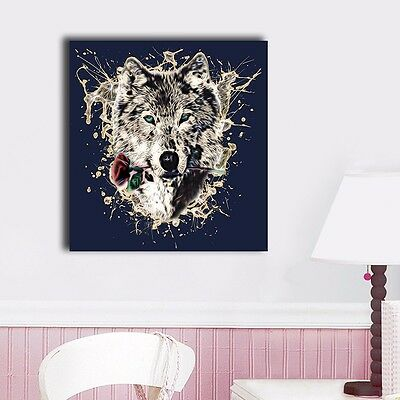 Abstract Wolf Stretched Canvas Prints Framed Wall Art Home Decor Painting Gift