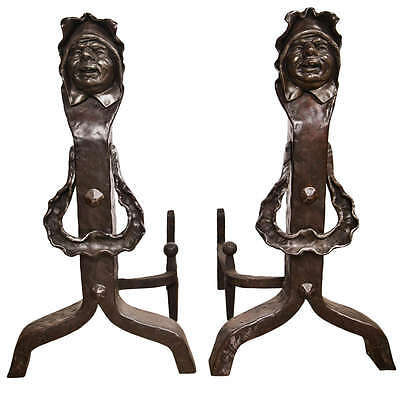Vintage Set Of Figural Cast Iron Fireplace Andirons 107-9088