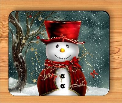 SNOWMAN WITH RED HAT WINTER MOUSE PAD -njb6Z
