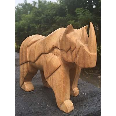 Fairtrade Carved wooden Abstract War Rhino Statue