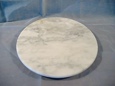 "Vintage Italian Round White Gray Marble Lazy Susan Pedestal 11.5"" Made in Italy"