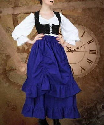 Steampunk Skirt Royal Blue Victorian Style Long Cotton Gathered Costume Skirt