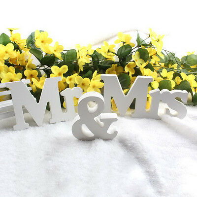 MR And MRS Sign Letters White Wooden Standing Top Table Wedding Gift Decoration