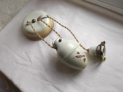 French vintage counterbalance weight porcelain rise and fall pendant light