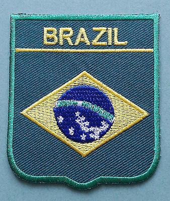 National Flag Country Shield Sew On / Iron On Embroidered Patch:- Brazil