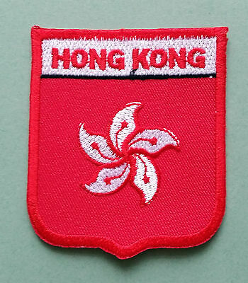 National Flag Country Shield Sew On / Iron On Embroidered Patch:- Hong Kong