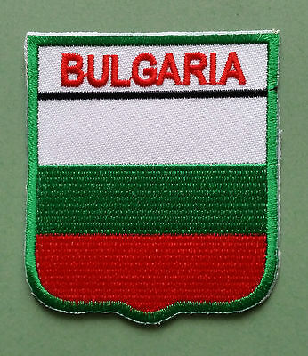 National Flag Country Shield Sew On / Iron On Embroidered Patch:- Bulgaria