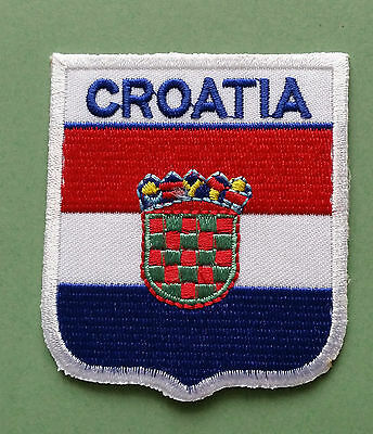 National Flag Country Shield Sew On / Iron On Embroidered Patch:- Croatia