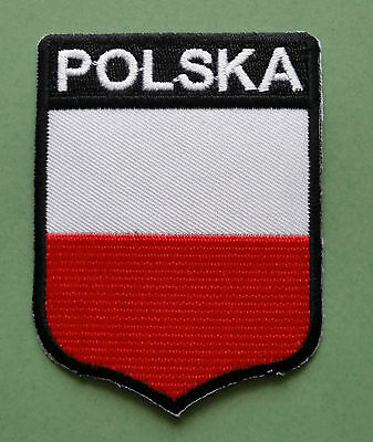 National Flag Country Shield Sew On / Iron On Embroidered Patch:- Polska