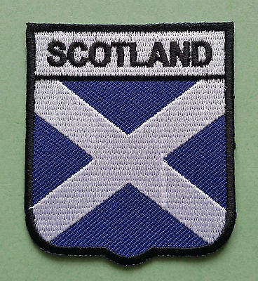 National Flag Country Shield Sew On / Iron On Embroidered Patch:- Scotland