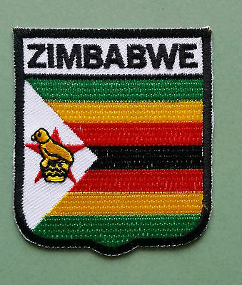 National Flag Country Shield Sew On / Iron On Embroidered Patch:- Zimbabwe