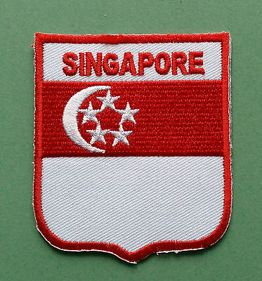 National Flag Country Shield Sew On / Iron On Embroidered Patch:- Singapore