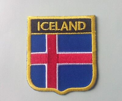 National Flag Country Shield Sew On / Iron On Patch:- Iceland World Cup