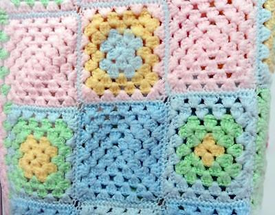 Handmade Crocheted Granny Squares Baby Blanket Afghan 37 x 36