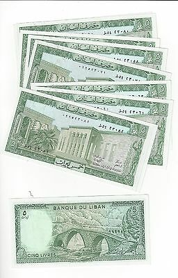 Lebanon 5 Livres   10 Consec # Notes Lot  All Nice Unc