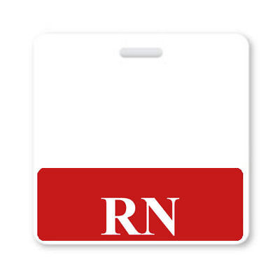 RN Horizontal Badge Buddy with Red Border - Registered Nurse Hospital ID Backer