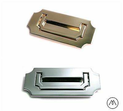 Campaign Furniture Hardware Recessed Handle Pull - Polished Brass or Chrome