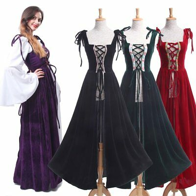 Renaissance Medieval Irish Women Costume Over Dress Fitted Bodice Peasant Wench