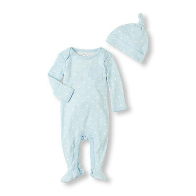 Children's Place Baby Blue Star Layette Sleep n Play Coverall~Hat Set 9-12M NWT