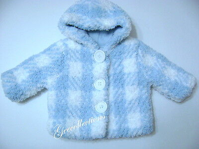 mudpie Baby Boys Girls Blue White Faux Fur Plaid Winter Jacket W/ Hood 0-3M NWOT