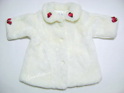 "The CHILDREN'S PLACE Baby Girls IVORY ROSE Flower Faux FUR Winter Coat 12M ""EUC"""