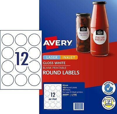 GLOSSY WHITE Avery Round Labels Laser Inkjet L7105 12/Sheet 10 Sheets 980001*